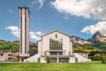 Pfarrkirche Seewen - Ansicht Südwest - Freitag, Wilhelm - 1961 - Seewen